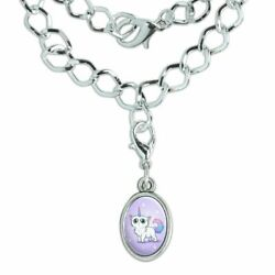 Cat Unicorn Silver Plated Bracelet with Antiqued Oval Charm