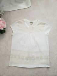 Lucky Brand Embroidered White Bohemian Peasant Eylette Blouse S $24.90