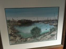 James Orlando Ogle Signed ORIGINAL Water coloring Monterey bay painting