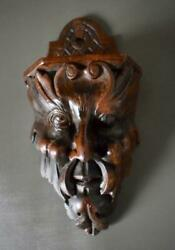 French Rare Antique Carved Wood Figural Mascaron Wall Salt Box Folk Art