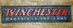 Cast Iron WINCHESTER Cartridge and Guns Plaque Sign Rustic Ranch Wall Decor $12.99
