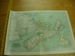 Nova Scotia No.62 1897 & 1902 the Century Atlas VINTAGE color map 12x16