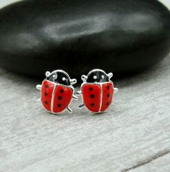 Red Ladybug Post Earrings 925 Sterling Silver Bug Insect Studs NEW $13.95