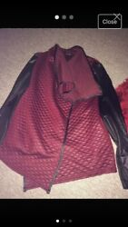 Womens Burgundy And Black Waterfall Jacket