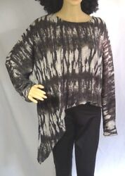 Robert Kitchen Canada womens top gray black boho asymmetrical women size XXL $15.99