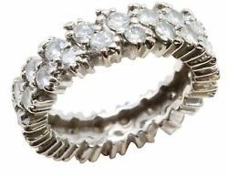 14k White  Gold Eternity Band Size 7 3 ct 6mm wide