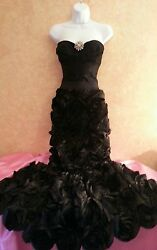 Midnight Bloom Jewel Mermaid Black Corset Rosette Wedding Bridal Gown Dress