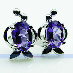 Oval Purple Amethyst Stud Earrings 925 Sterling Silver  CHRISTMAS GIFT