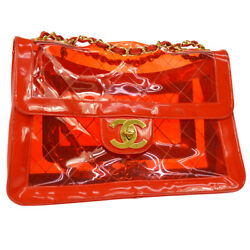 Auth CHANEL Quilted CC Double Chain Jumbo Shoulder Bag Red Vinyl Patent A40080