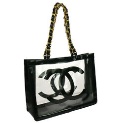 Authentic CHANEL CC Logos Chain Shoulder Tote Bag Black Vinyl Vintage AK34120c