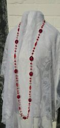 Red plastic beads silver tone wire long necklace round 3 times 155 cms festival