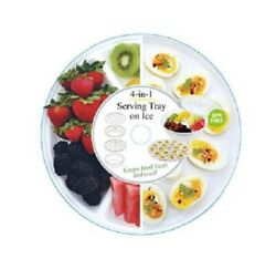 4-in-1 Serving Tray on Ice - Salad Bowl Egg Tray & Appetizer Tray with Lid
