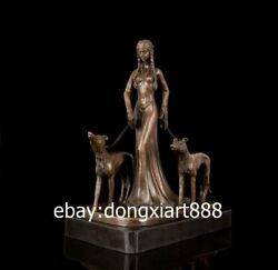 49 CM Western Art Deco Bronze Women Girl Belle Fair Maiden Working Dog Sculpture