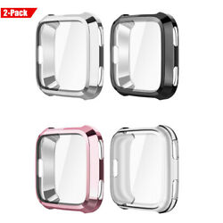 2 Pack Fintie TPU Plated Screen Protector Rugged Cover for Fitbit Versa Watch