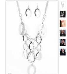Paparazzi Jewelry Spellbound Silver tone Necklace Earring Set