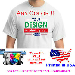 Personalized Custom printed t shirt any color print text photo logo $16.99