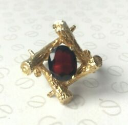 Vintage 70's Garnet and 9k Yellow Gold Campfire Dress Ring UK Size P