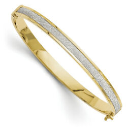 Leslies 14k Yellow Gold Fancy Glimmer Infused Hinged Bangle LF128