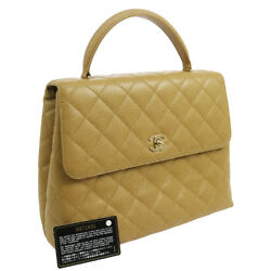 Authentic CHANEL Quilted Hand Bag Beige Caviar Skin Vintage GHW A41169b