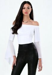 NEW bebe off white sheer off shoulde dreamy bell sleeve crop top XS 0 2 sexy $39.99
