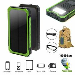 100000mAh 2USB Solar Power Bank Pack External Battery Charger for Cell Phone USA
