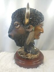 Rare Collectible Barry Stein Faces of Power Bronze Statue Indian amp; Buffalo 5 45 $3500.00