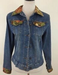 Too She She Jean Jacket Size Small Blue Denim Embellished Rhinstones Tapestry