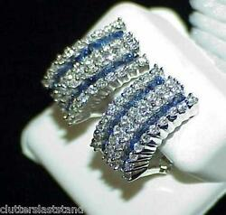 18K 2.00Ct Princess Sapphire 1.48Ct Diamond Half Hoop Earrings New wTag WhtGold