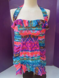 Jessica Simpson Skirtani One Piece Skirted Bathing Suit Bright Ruched Halter 0X $14.98