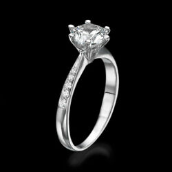 3 13 CT Enhanced Diamond Engagement Ring Round FVS-SI 18K White Gold Size 4-9