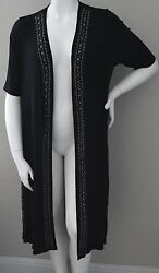 Vocal Long Open Stretch Cardigan Duster w Stones Black Plus 1XL 2XL 3XL New