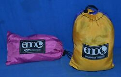 Eagles Nest Outfitters ENO DoubleNest Hammock Yellow Blue w ENO Atlas Straps $74.95