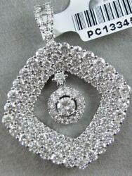 MODERN 3.50CTW PAVE DIAMOND 18K GOLD SQUARE HANGING HALO DANGLE PENDANT PC13345W