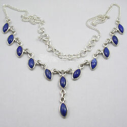 925 Stamp Pure Sterling Silver 4 x 8 mm Lapis Lazuli 9.6 tcw Necklace 45.5 cm