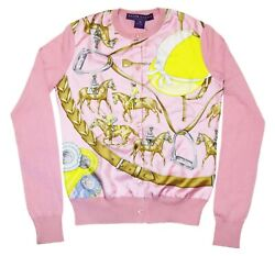 Polo Ralph Lauren Collection Women Cashmere Horse Cardigan Sweater Italy Pink XS