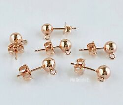 6pcs 3mm Ball Earring Post 14k Rose Gold Filled with butterfly backing E28rg $23.79