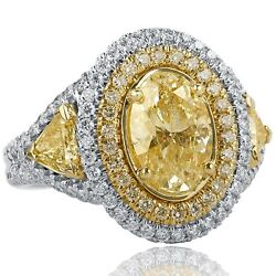 3.82 Ct Light Yellow Oval Shaped Trillion Side Diamond Engagement Ring 18k Gold