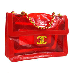Auth CHANEL Quilted CC Jumbo Double Chain Shoulder Bag Red Vinyl Patent V05813