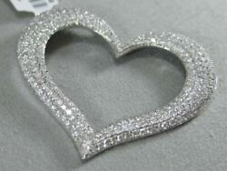 MODERN PAVE 2.59CTW DIAMOND 14K W GOLD HANGING OPEN PUFF HEART PENDANT P57441WP1