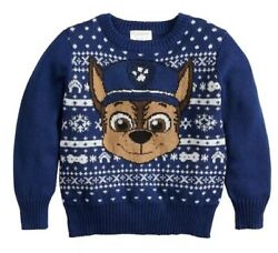 New Paw Patrol 4T Boys Nickelodeon Kids Chase Dog Blue Holiday Christmas Sweater $19.95
