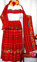 Peasant Mexican Red Maxi Dress 3 pc Floral Embroidery Blouse Skirt Shawl Vtg 2X $59.95