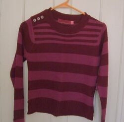 New Girls Junior Knit Top Sweater Acrylic Striped Maroon Burgundy Sleeve Size L $4.50
