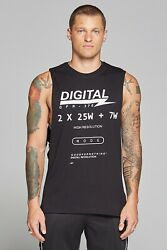 Mens Good For Nothing Digital Sleeveless Black T-Shirt (GFN7) RRP: £24.99