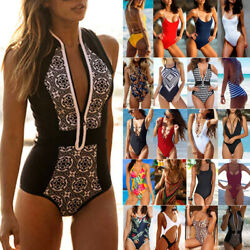2019 Women Floral One Piece Swimsuit Push up Padded Bikini Swimwear Bathing Suit $9.39