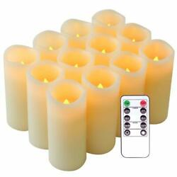 Flameless Candles Flickering Real Wax LED Candles Set of 12 with Remote Control