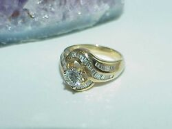 14k .95ct 3 Diamond Solitaire & .50ct Baguettes Halo Ring Size 6.5 Yellow Gold