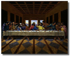 Jesus Christ Black Last Supper Religious & Inspirational Wall Art Print Picture