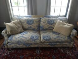 Sofa French provincialmatching cushions light yellowblue good condition