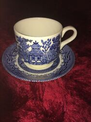 Churchill England Blue Willow Oriental Print Cup and Saucer Set
