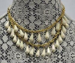 KATE SPADE NY SHIMMER DOUBLE CHAIN BIB NECKLACE IRIDESCENT IVORY BRIOLETTES NEW